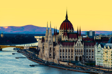 Aerial view of Budapest, Hungary at sunset. Parliament building