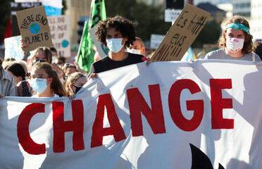 """A """"rise up for change"""" national day of protest and action against climate change in Zurich"""