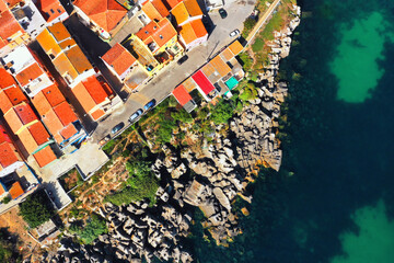 Aerial view from drone of red roof of houses in Peniche, Portugal