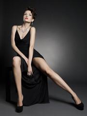 Printed roller blinds womenART Fashion photo of beautiful lady in elegant evening dress