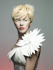 Printed roller blinds womenART Art portrait of young beautiful woman.