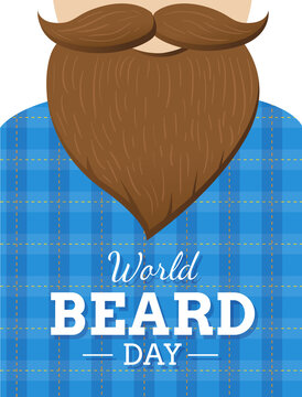 World Beard day poster or card design. Man with dark beard and mustache in blue shirt. - Vector illustration