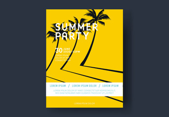 Bright Yellow Summer Party Poster with Palm Trees