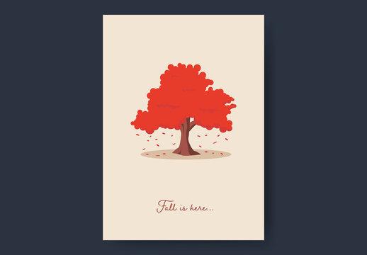 Big Red Tree Fall Card