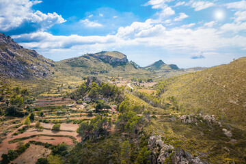 beautiful wide angle aerial view of the mountains of Mallorca, Estellencs, Spain
