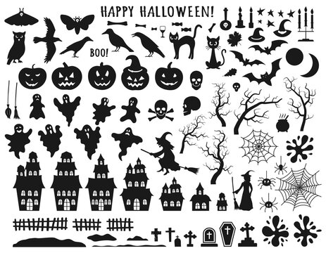 Set of Halloween black icons with witch, cat, raven, hat, ghosts, bats, candle, pumpkin, spider, cobweb, skull and bones. Vector illustration in flat style isolated  over white background