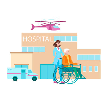 Hospital lettering, caring doctor, virus treatment, infectious disease, emergency, cartoon vector illustration, isolated on white. Nurse carries patient in wheelchair, professional treatment clinic.