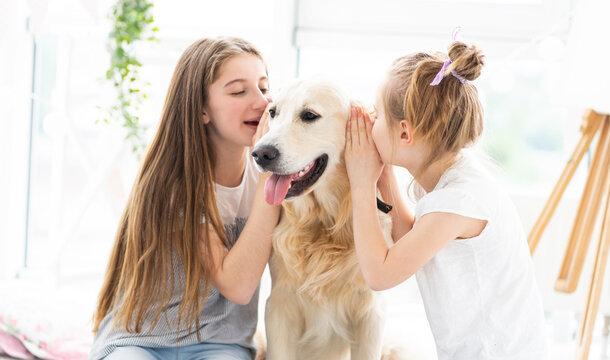Cute girls whispering secrets into dog's ears indoors