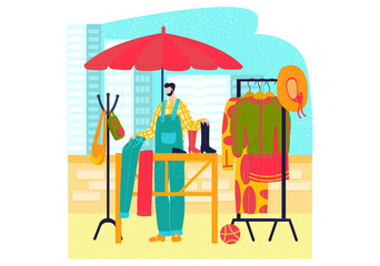 Obraz Market stalls, flat style clothing set, fashion street shop, selling dresses, cartoon vector illustration, isolated on white. Satisfied man seller at bazaar, stand for trade, city fair, outdoor summer - fototapety do salonu