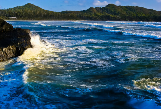 Waves Crashing Into The  Headlands on Long Beach, Vancouver Island, British Columbia, CAN
