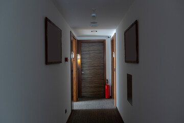 Interior of a hotel corridor doorway
