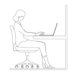 Woman operating a laptop