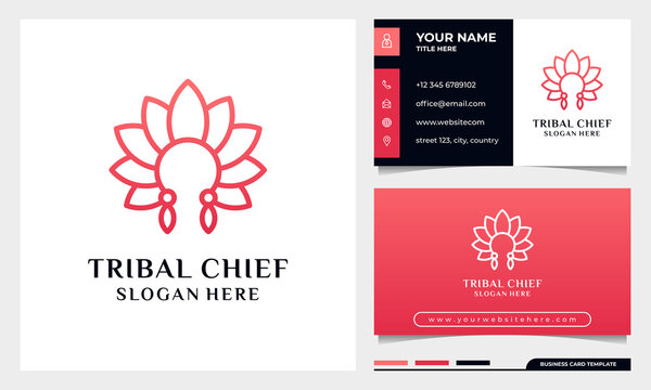 Tribal chief Head With Flower Leaf Concept, Minimalist elegant flower, luxury beauty salon, fashion, skincare, cosmetic, yoga and spa logo Design