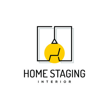 home staging logo design line art. property care vector template real estate business idea