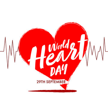 World Heart Day Font on Heartbeat Made by Red Brush Stroke for 29 September.