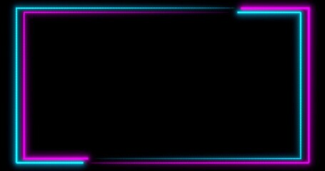 Neon background with LED frame screens. Fluorescent abstract blue, purple color. . 3D illustration