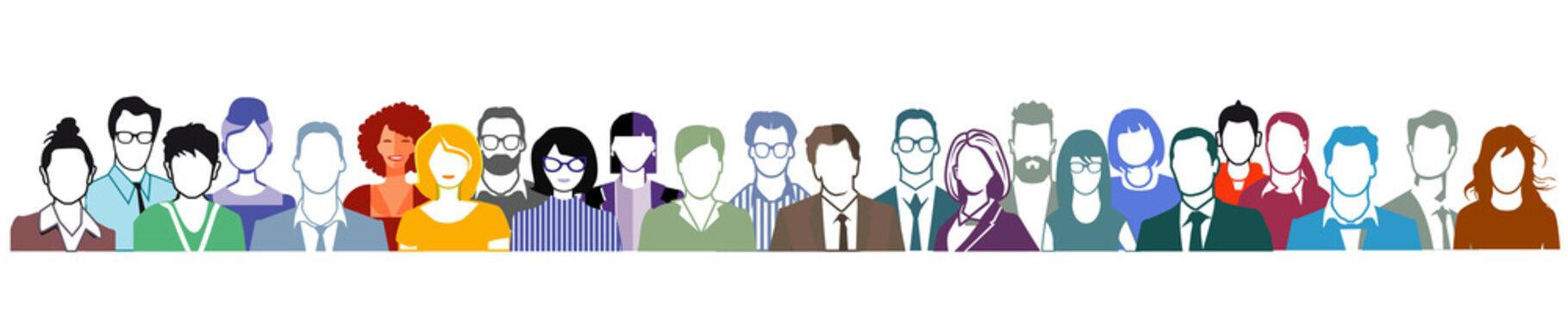Gruppe von Personen Portrait, Gesichter auf weißem Hintergrund.