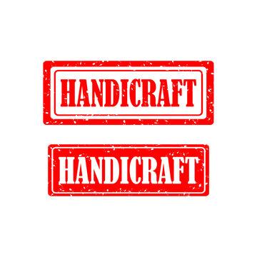 handicraft rubber stamp set on white background. vector illustration