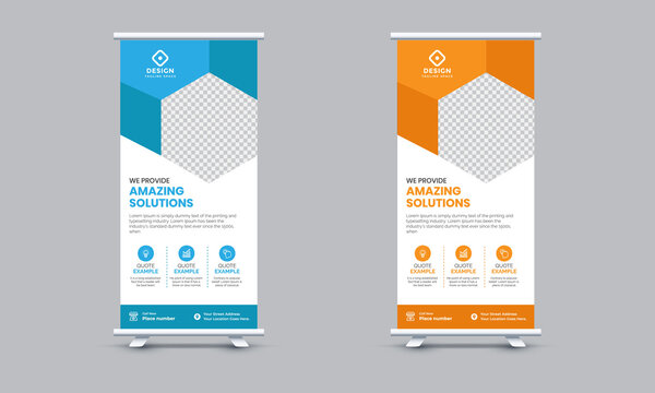 Corporate Roll Up banner design template. standee and billboard Vector illustration