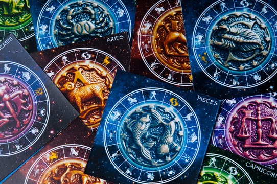 zodiac signs and symbols and horoscope like astrology concept and full frame astrological background