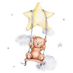 Cute teddy bear swinging on a swing on a star; watercolor hand draw illustration; can be used for kid poster or baby shower; with white isolated background