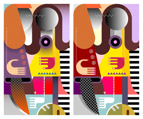 Two young women stand side by side and talk with each other. Two options of a modern art colored vector illustration.