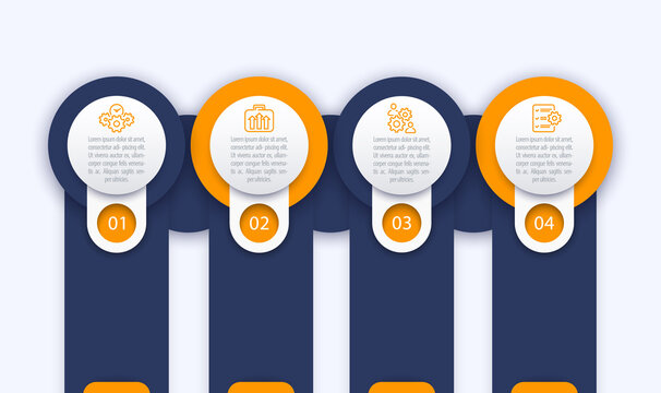 business infographics template, 1, 2, 3, 4 steps with line icons