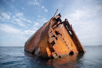 Acrylic Prints Shipwreck The rusty remains of a sunken ship .