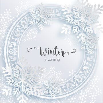 Snowflakes design for winter with place text space. Snowflakes background patterned paper cut art and craft style on paper color background.