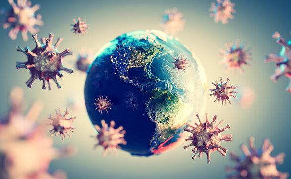 Coronavirus COVID-19 all around the Earth.