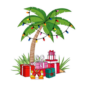 .Palm tree with a garland of light bulbs and a variety of gifts. Tropical beach Christmas. Festive vector illustration.