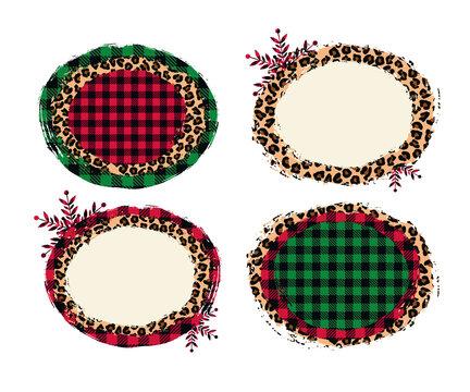 .Christmas various shabby frames set . Background brush stroke. Vector illustration.