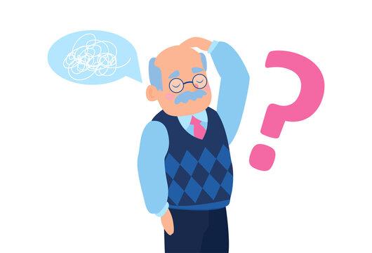 Vector of a senior man feeling confused having short term memory loss