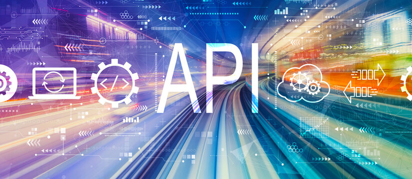 API - application programming interface concept with abstract high speed technology POV motion blur