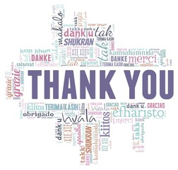 Thank you vector illustration word cloud isolated on a white background.