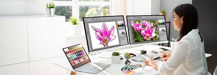 Obraz Graphic Designer Artist Working - fototapety do salonu