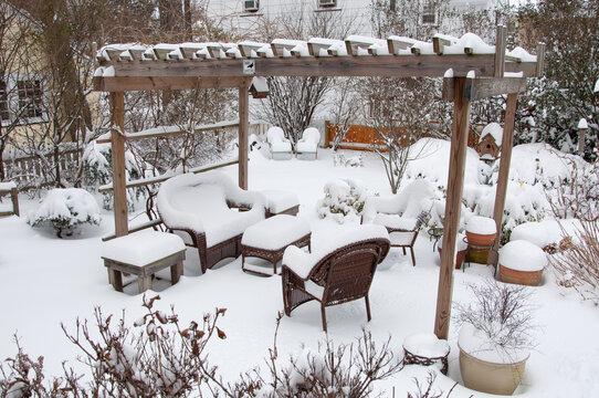 Backyard garden set, snow covered in the winter