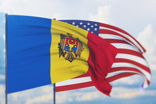 Waving American flag and flag of Moldova. Closeup view, 3D illustration.