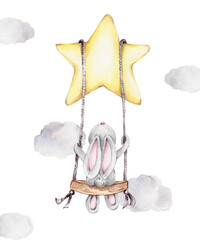 Cartoon cute bunny on the swing on the star; watercolor hand draw illustration; can be used for cards or kid posters; with white isolated background