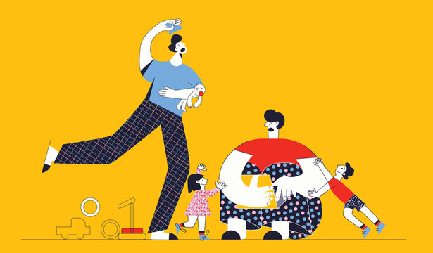Frustrated parents and their mischievous children in messy room. Gay male couple with kids. Tired young dad working with laptop. Flat vector cartoon illustration with character isolated on yellow