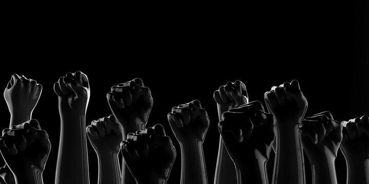 Black fists on black background with rim. Black Lives Matter. Blackout. Social justice concept. Banner. 3D render. Protest.