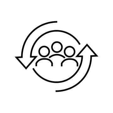 personnel change line icon people. Vector illustration eps 10