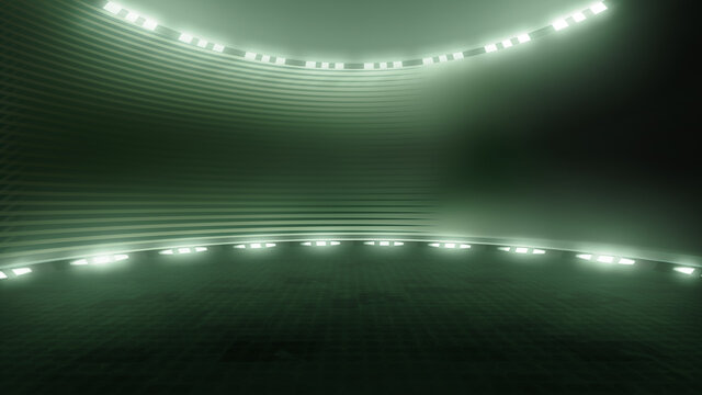 Dark, futuristic virtual studio backdrop, with spotlights. Ideal for virtual tracking system sets, with green screen. (3D rendering)