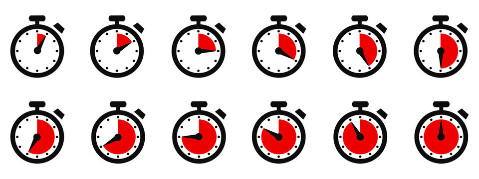 Timer, clock, stopwatch isolated set icons with different time. Countdown timer symbol icon set. Sport clock with red colored time meaning. Label cooking symbols. Stopwatch collection - vector