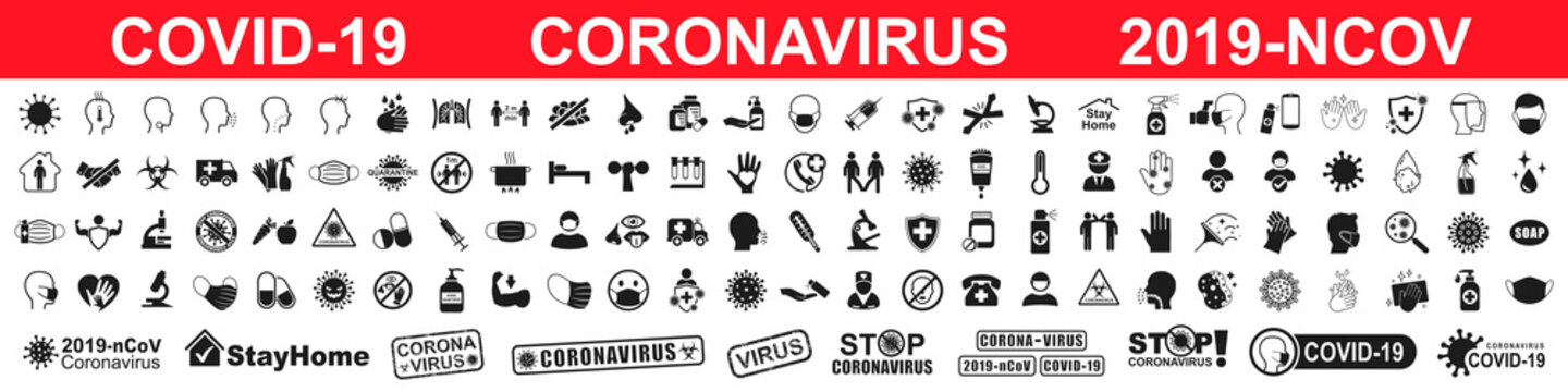 Set corona virus icons infographic. Concept with symptoms and protective antivirus icons related to coronavirus, 2019-nCoV, COVID-19 – vector
