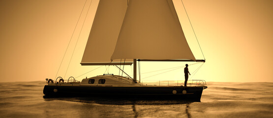 Scenic view of yacht sailing at sunset with a silhouette of a man