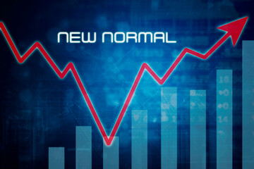Growth business chart with new normal text