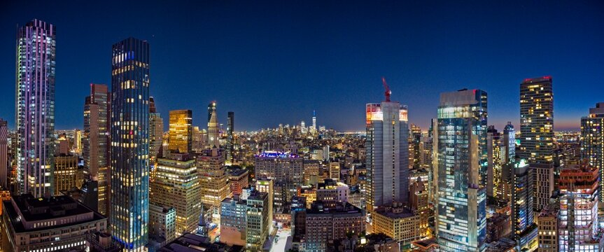 New York City Manhattan skyline at dusk