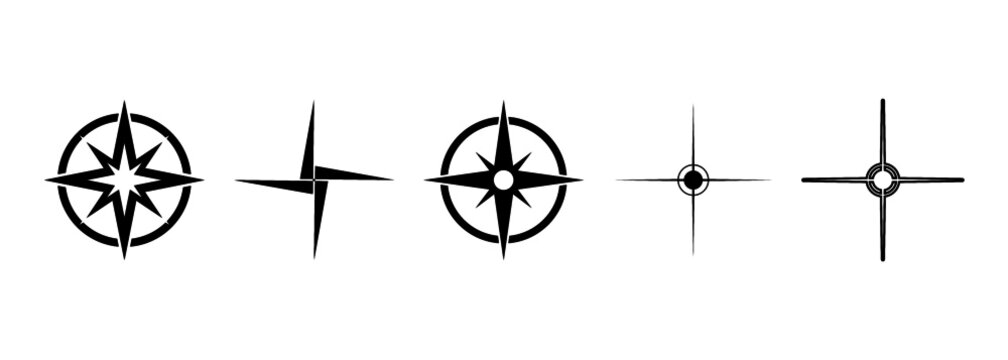 Map direction icon. North arrows vector set.