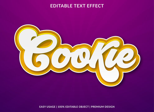 cookie text effect template design with bold font style and retro concept use for brand and food logo